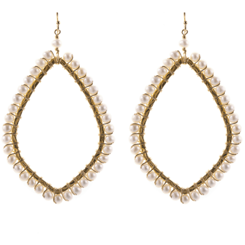 Oval Shaped Earrings in Pearl
