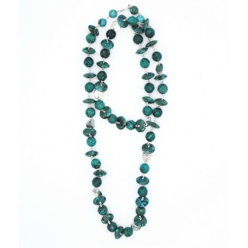 Turquoise Necklace with Hammered Discs
