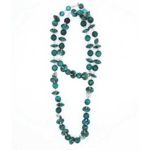 American Indian Turquoise Squash Blossom Necklace