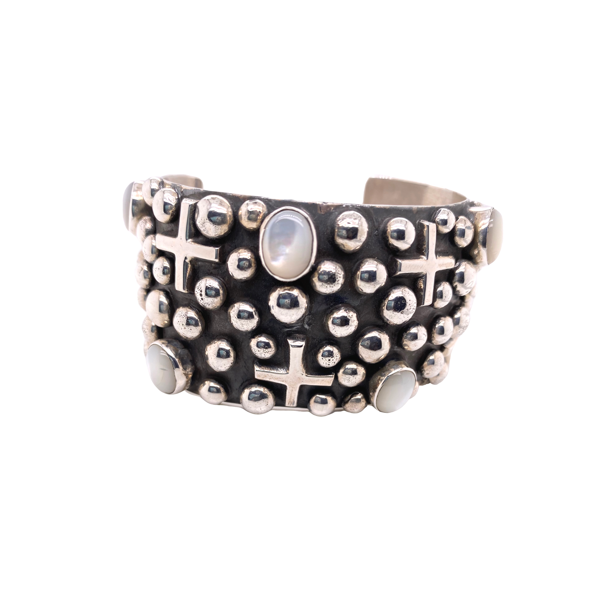 Wide Cross + Bead Mother of Pearl Cuff - Karlas Jewelry & Gifts