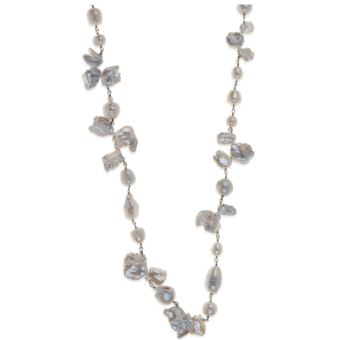 Grey Gemstone and Silver Necklace