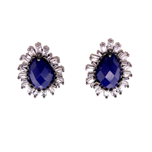Faceted Lapis + CZ Studs - Karlas Jewelry & Gifts