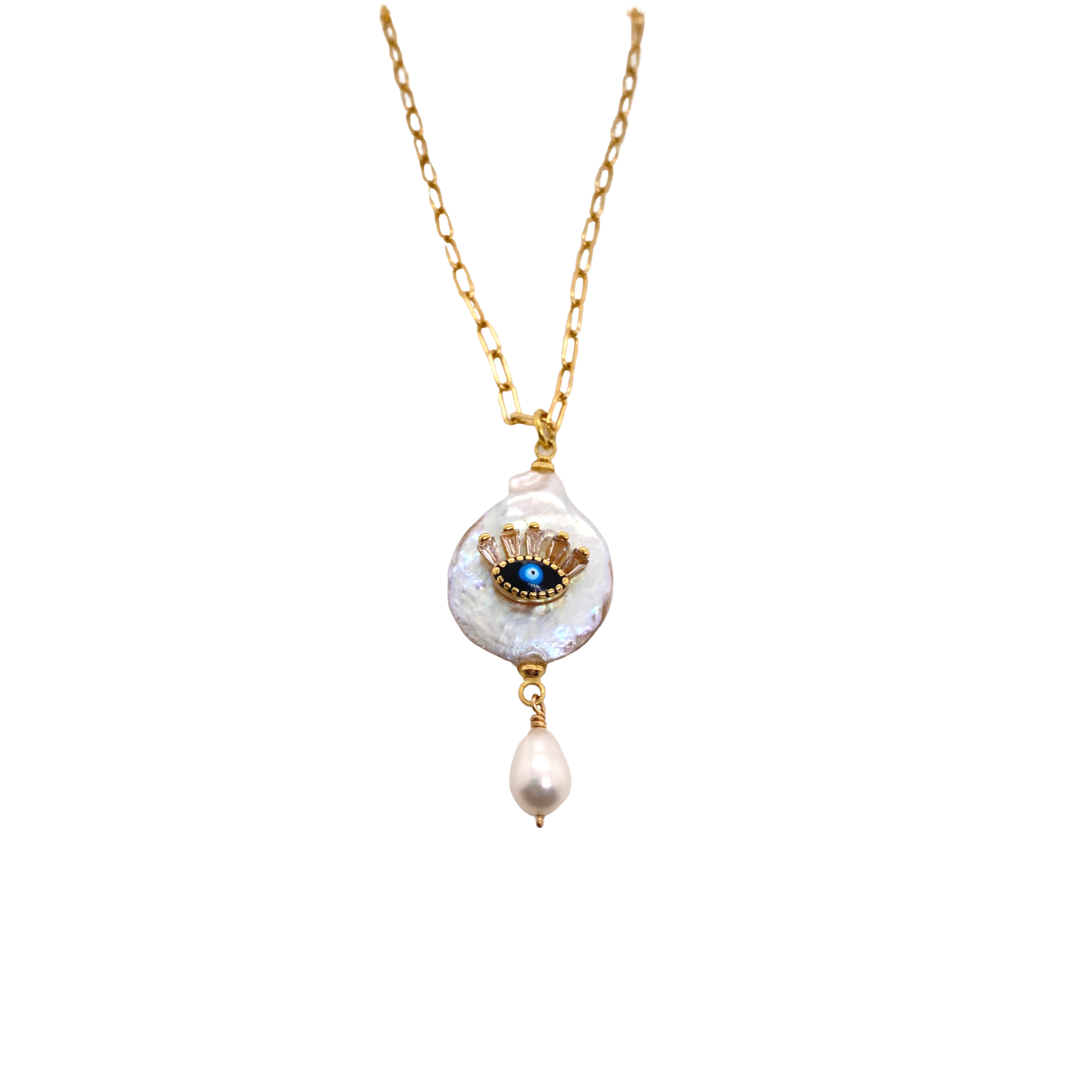 Murano + Evil Eye Link Necklace - Karlas Jewelry & Gifts