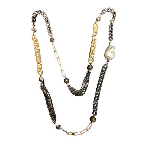 Luxe Mixed Metal Multi Link Necklace + Stone