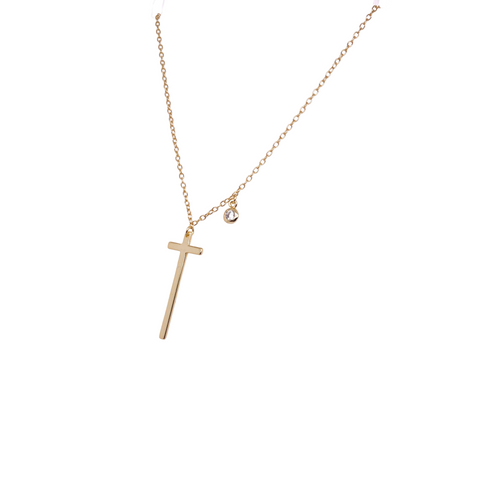 Dainty Cross + CZ Necklace