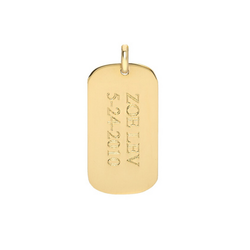 14k Small Dog Tag Pendant