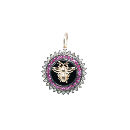 Bee Diamond + Enamel Pendant