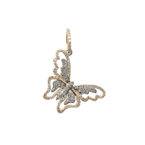 Gold + Silver Butterfly Diamond Pendant
