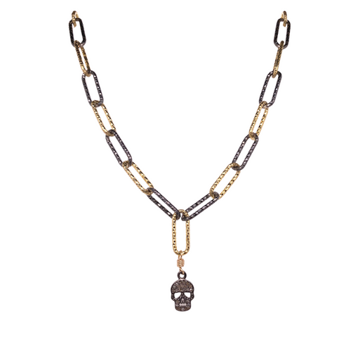 Diamond Skull Link Necklace