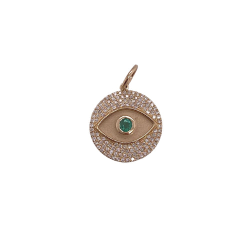 14k Diamond Evil Eye + Emerald