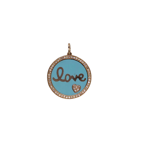 Diamond + Enamel Love Charm