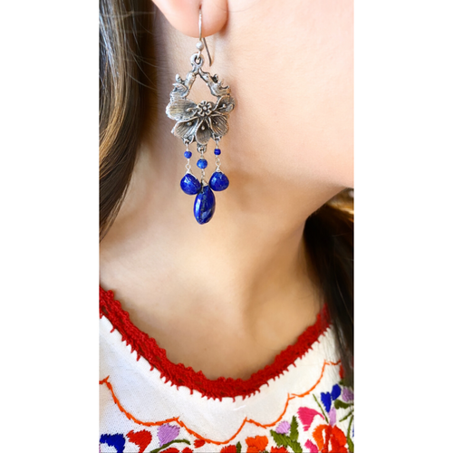 Lovebird + Stone Chandelier Earrings
