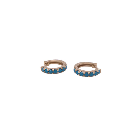 14k Gold and Turquoise Huggies