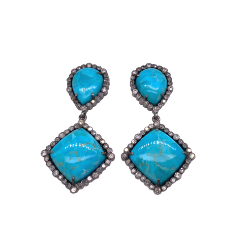Turquoise + Diamond Drop Earrings