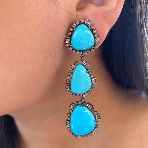 Turquoise + Baguette Diamond Earrings