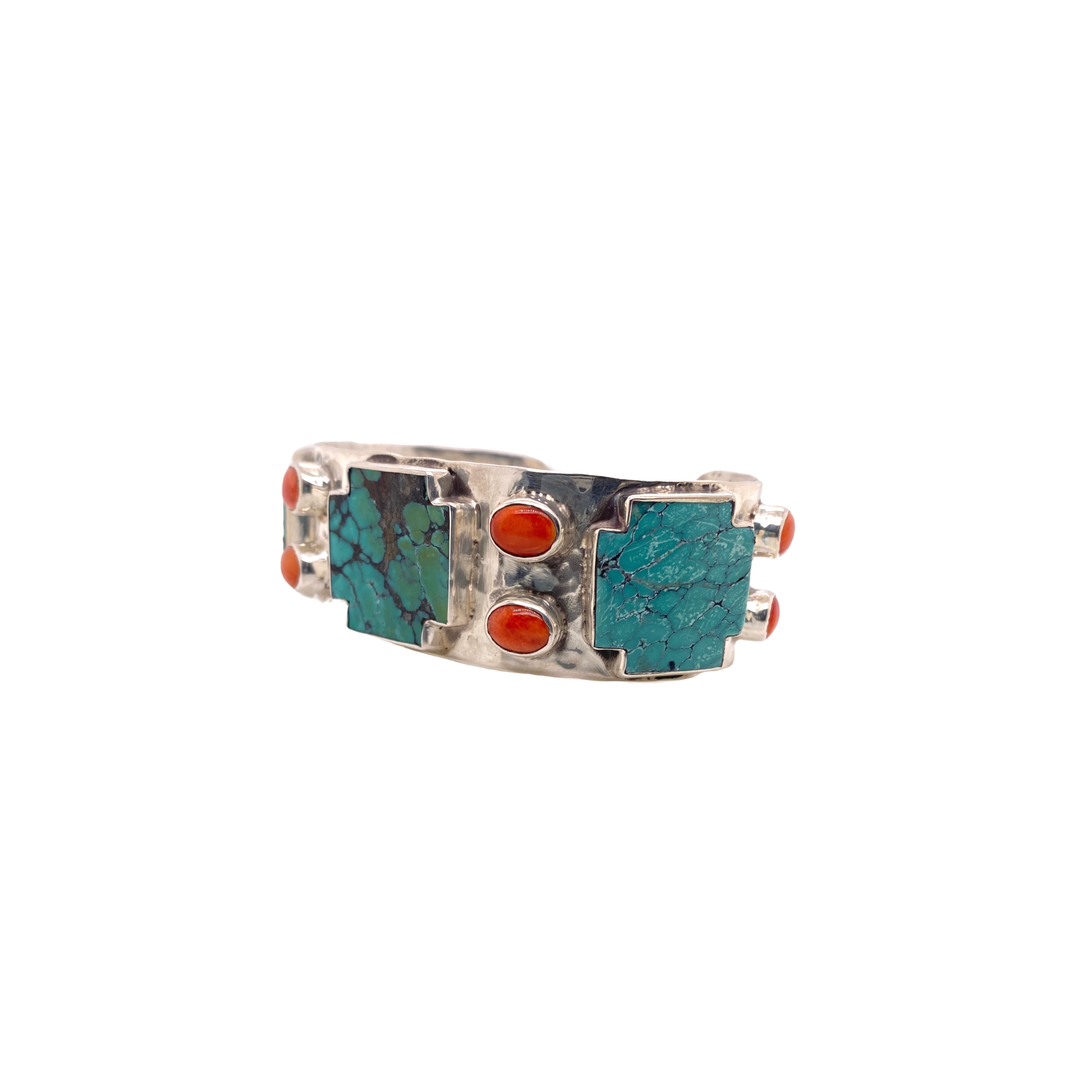 La Reyna Turquoise + Coral Cross Cuff - Karlas Jewelry & Gifts