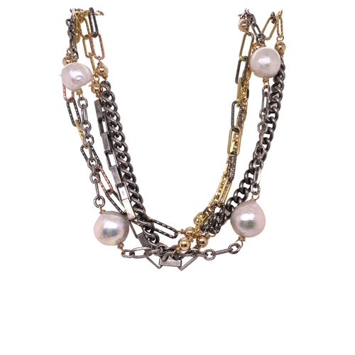 Mixed Metal Pearl Necklace