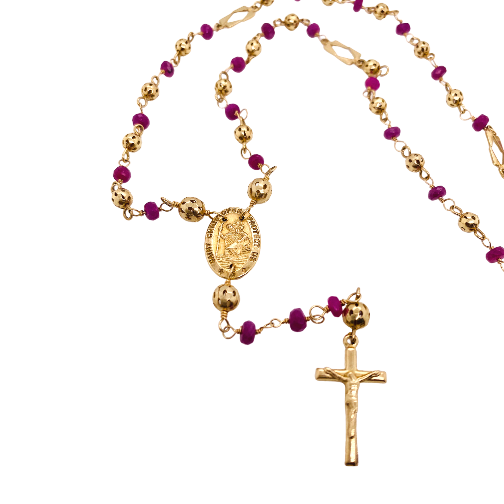 Ruby St. Christopher medal rosary