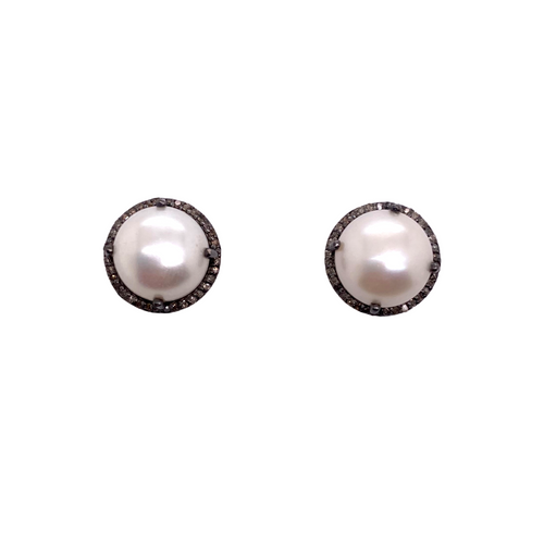 Diamond + White Pearl Studs - Karlas Jewelry & Gifts
