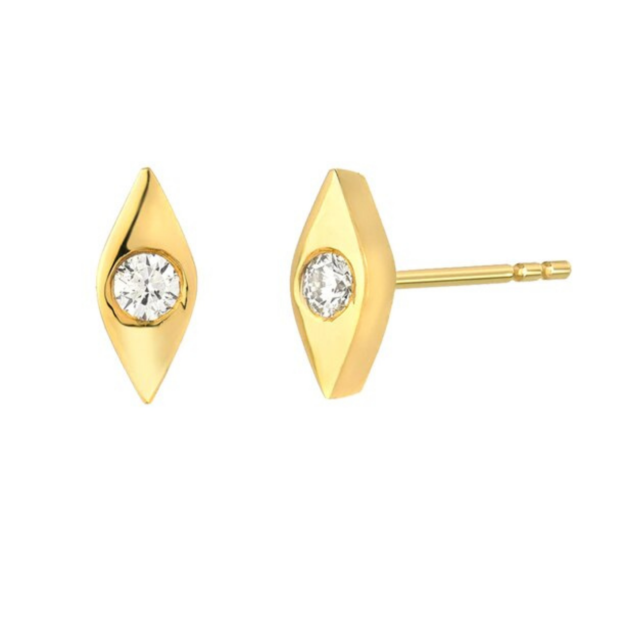 14k Evil Eye Diamond Studs