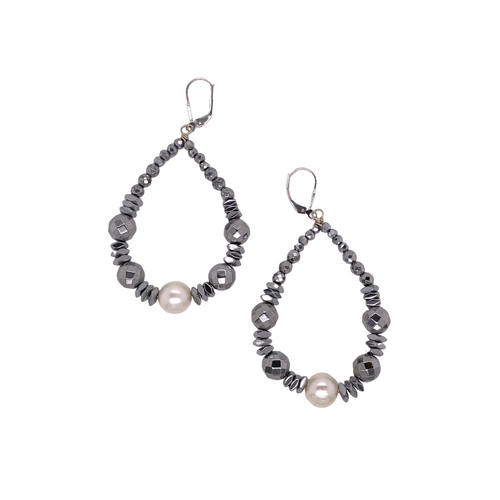 Faceted Hematite + Pearl Drop Earrings