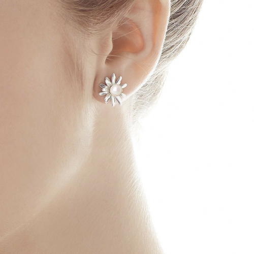 Sterling Silver Flower Jacket Earrings - Karlas Jewelry & Gifts