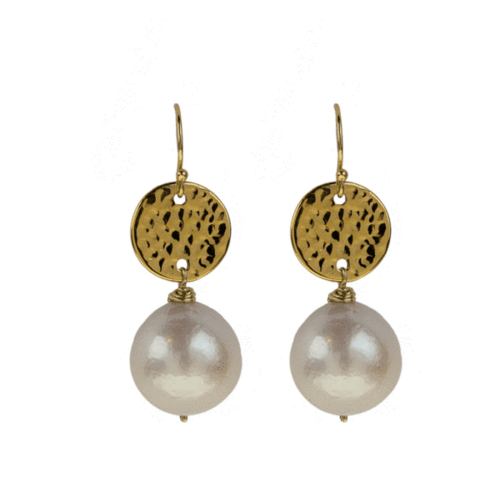 Hammered Gold Filled Freshwater Pearl Earrings