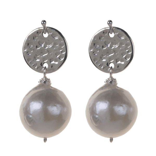 Hammered Gold Filled Freshwater Pearl Earrings - Karlas Jewelry & Gifts