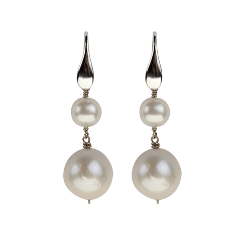 Sterling Silver Feather Earrings with White Pearl