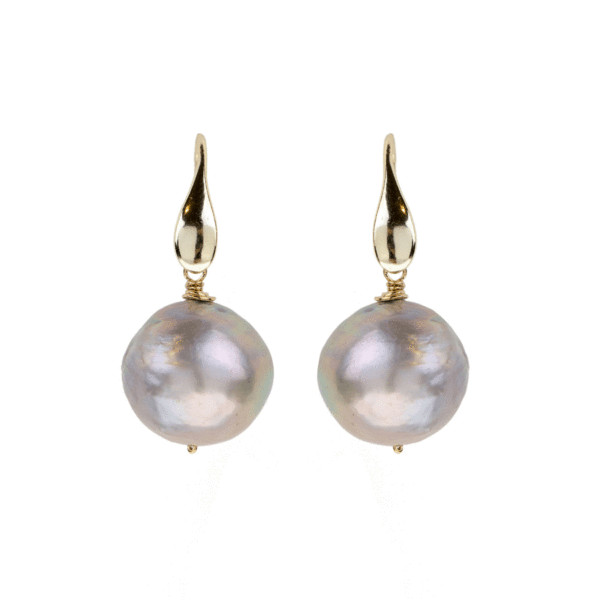 Hammered Silver Freshwater Pearl Earrings