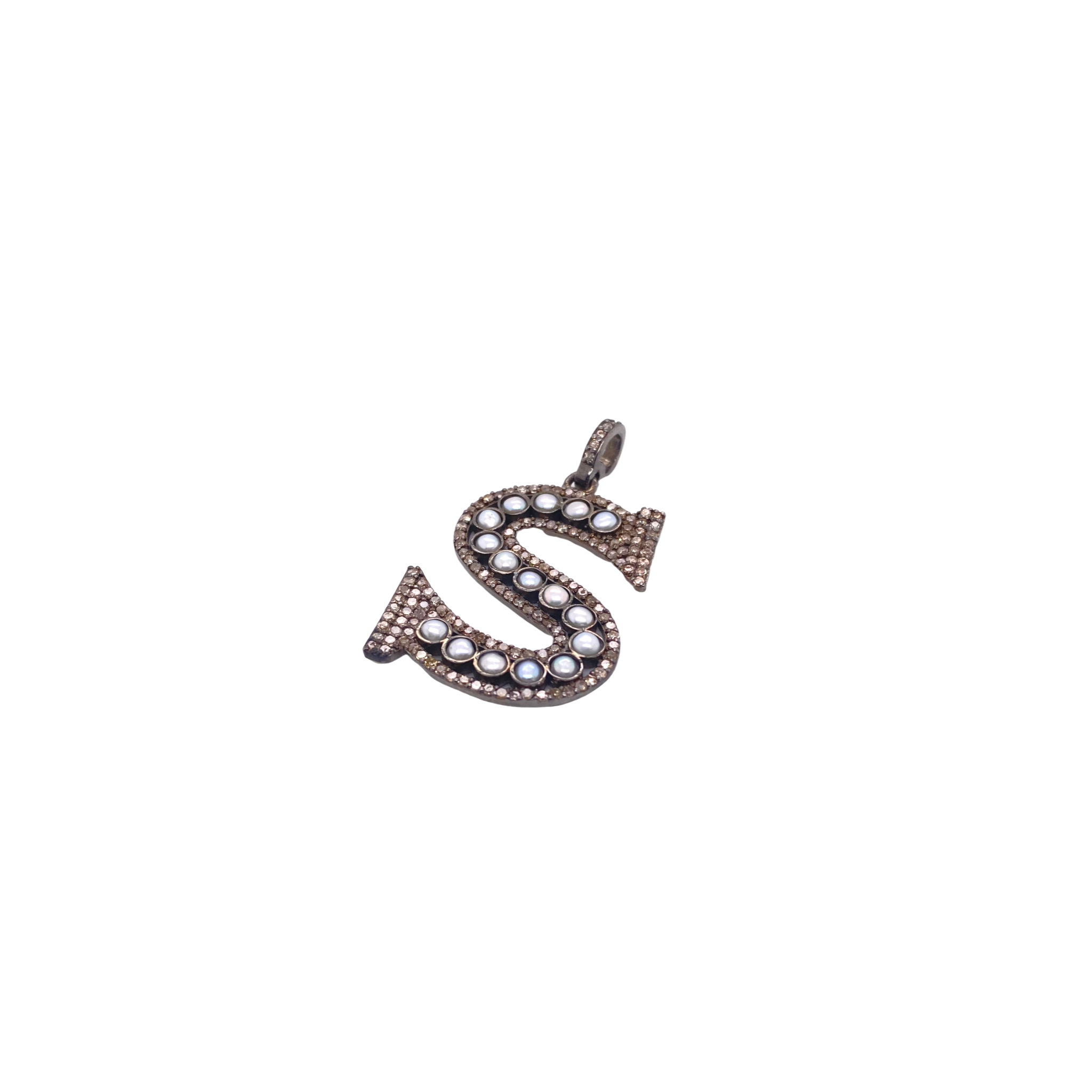 Large Pave Diamond + Pearl Initial - Karlas Jewelry & Gifts