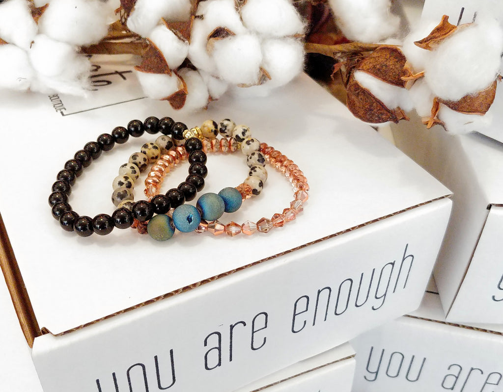 Enough Bracelet Stack- BLACK SPECKLED