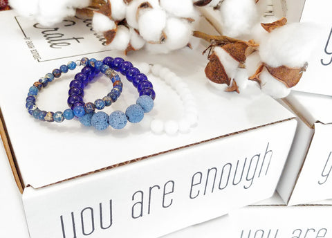 Enough Diffuser Bracelet Stack- BLUE ON BLUE