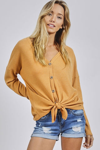 Buttoned Thermal Knit Top