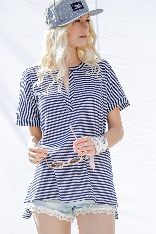 Navy Striped V Neck Top