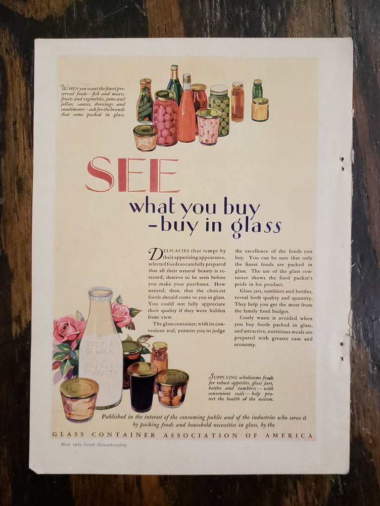 1929 Glass Container Association Magazine Ad
