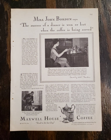 1929 Maxwell House Coffee Magazine Ad