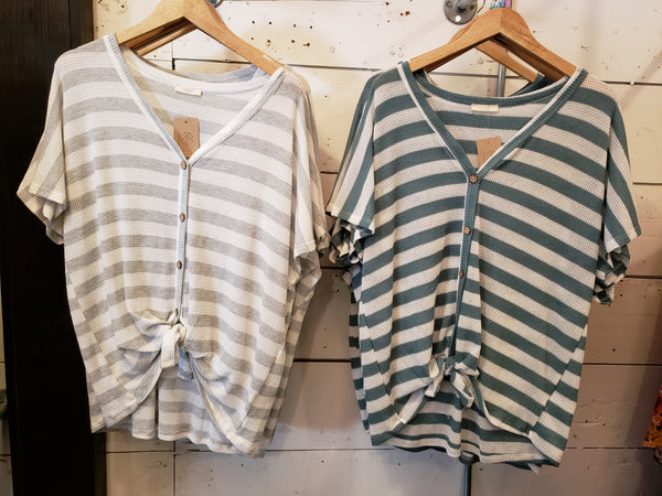 Striped Button Top