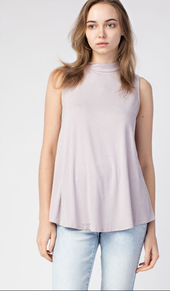 Mock Neck Sleeveless Top