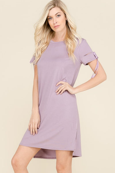 Cut Out Tie Short Sleeve Dress