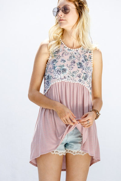 Floral and Stripe Sleeveless Top