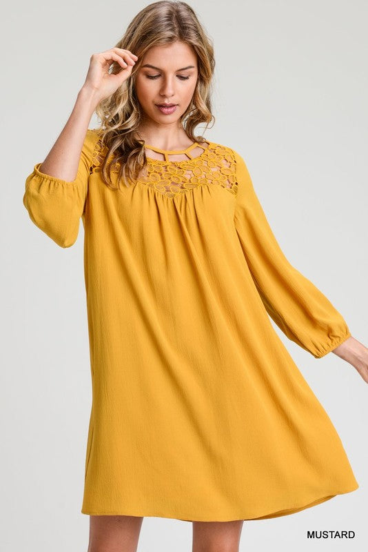 Solid Dress With Lace Yoke