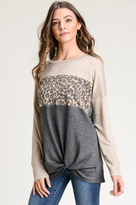 Long Sleeve Leopard Contrast Top