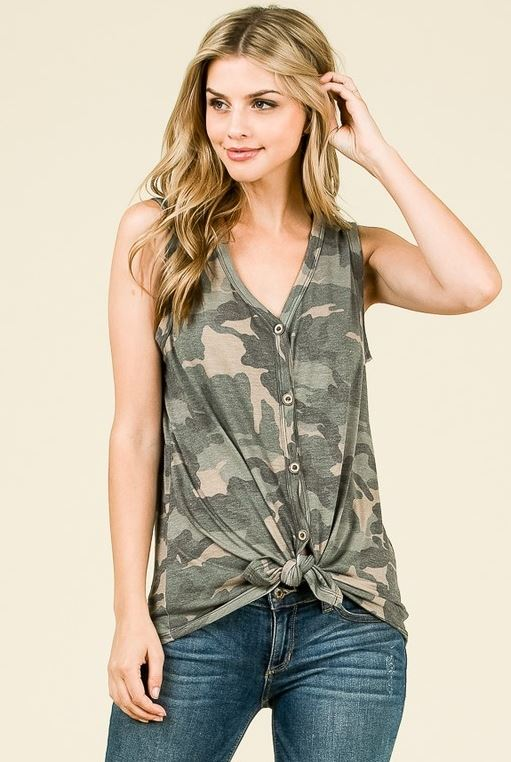 Front Tie Button Down Camo Top