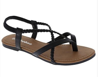 Stretch Strap Black Sandals