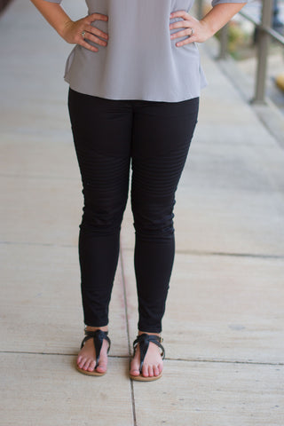 Moto Jeggings- BLACK