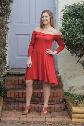 A Line Sweetheart Dress- RED