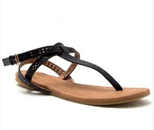 Thong Sandal with Buckle- BLACK