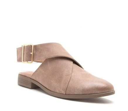 Ankle Wrap Flat Booties- TAUPE