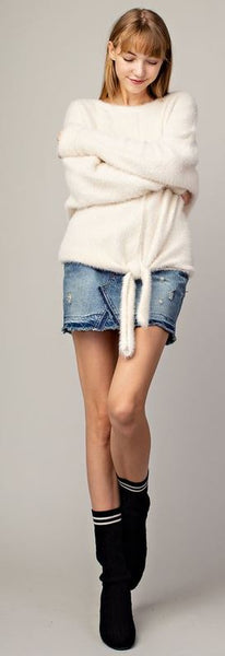 Tied Front Fluffy Sweater